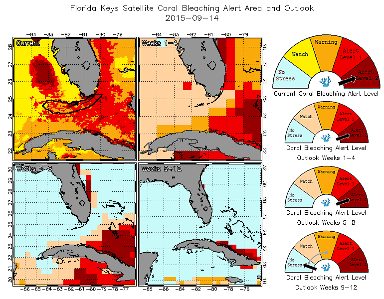 Florida Keys 5-km Bleaching Thermal Stress Gauges - 9-14-2015 - learn more at http://coralreefwatch.noaa.gov/vs/gauges/florida_keys.php