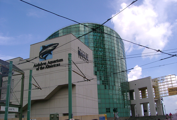 Exterior of Aquarium of the Americas in the aftermath of Katrina