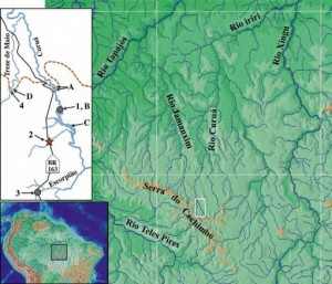 Map of the region west of Rio Xingu in a remote area of Brazil.