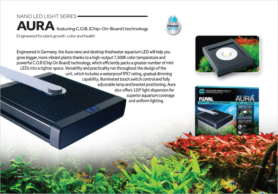 Aura is perfectly suited for planted desktop aquariums, designed to produce bigger, more vibrant plants.