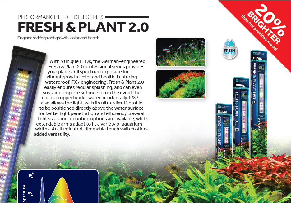 Fluval's updated Fish & Plant 2.0 LED Aquarium Light, intended for freshwater aquariums.