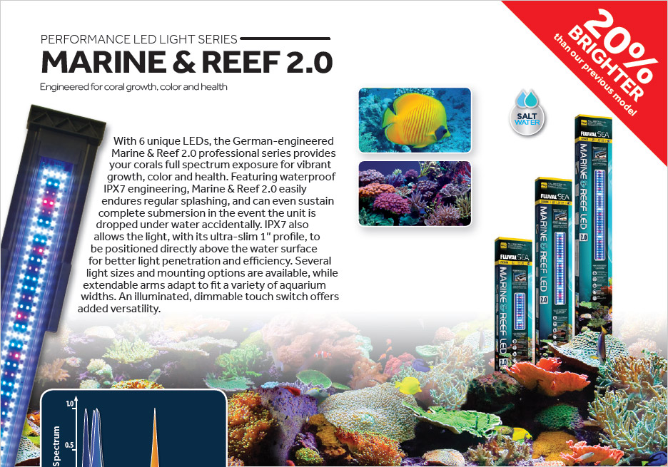 Fluval's Mairne & Reef 2.0 LED Aquarium Light, intended for saltwater aquariums.