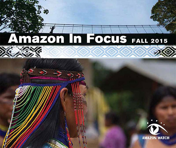 Cover of AMAZON in FOCUS 2015, the annual digest of environmental and humanitarian issues confronting the Amazon Basin and its peoples. Image: Amazon Watch.