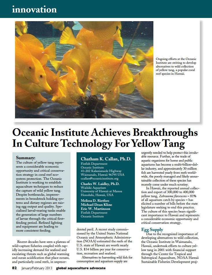 Opening page of Ocean Institute's earlier 2013 update on culturing Yellow Tangs.