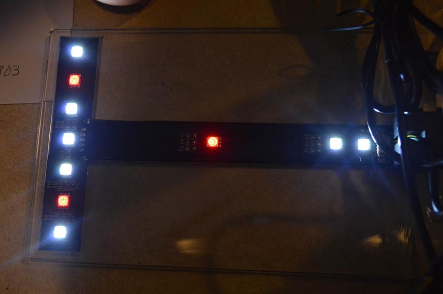 White and RGB LEDs, turned on.