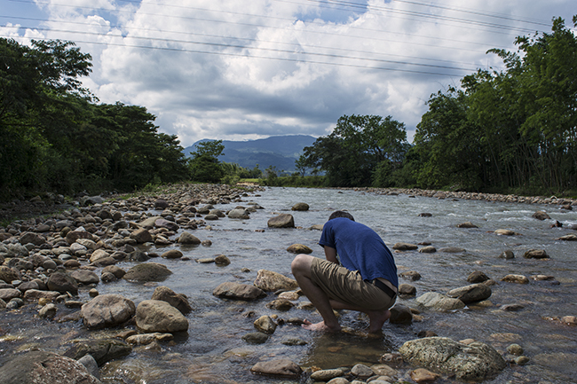 The author looking for plecos on the Rio Orotoy, just outside Bogota Colombia