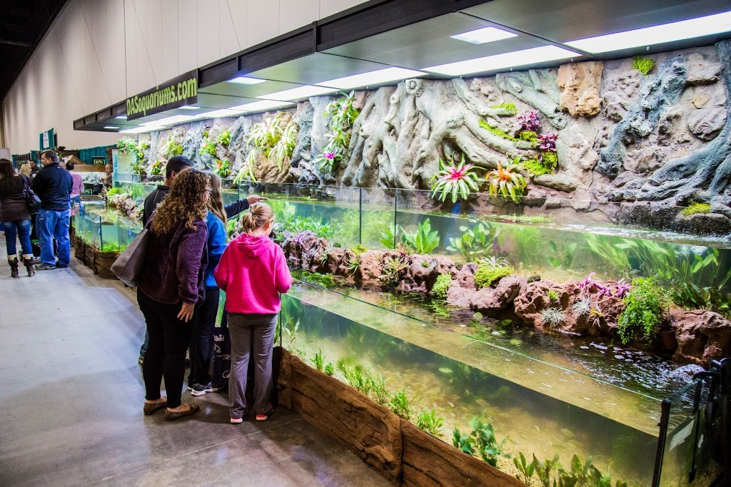 DAS Aquariums' 82-foot Amazon rainforest riverbank tank, complete with thousands of fish, was a highlight of Aquatic Experience - Chicago 2015. Image by Dan Woudenberg/LuCorp Marketing for the World Pet Association.