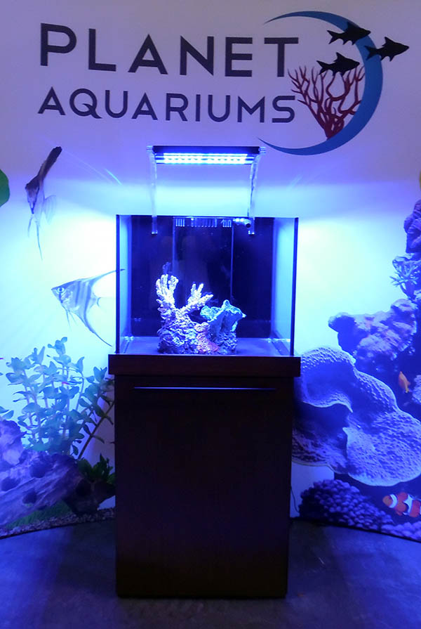 Reef Brite's acrylic mounting bars create an unintrusive look for lighting bars mounted over an aquarium.