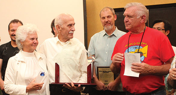 Ethel Shubel, Stan Shubel, Stephen Elliott, and Joe Mason: Presentation of Stan Shubel, Award for 50 plus years of Achievement, and to Ethel Shubel for 50 years as a Guppy Wife.