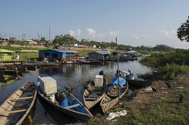 Opposite shore of Leticia's port, with balsas, or floating houses, visible