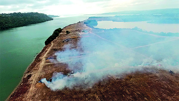 An aerial view of Ilha do Arapujá, mid-September 2015. The forest was burned so that the island could be flooded. Photo: M. Sabaj-Perez