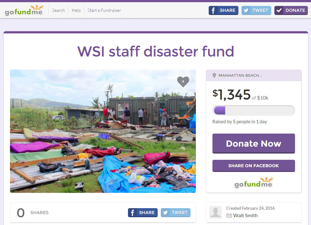 Walt Smith International's Staff Disaster Fund is live and accepting donations on GoFundMe.