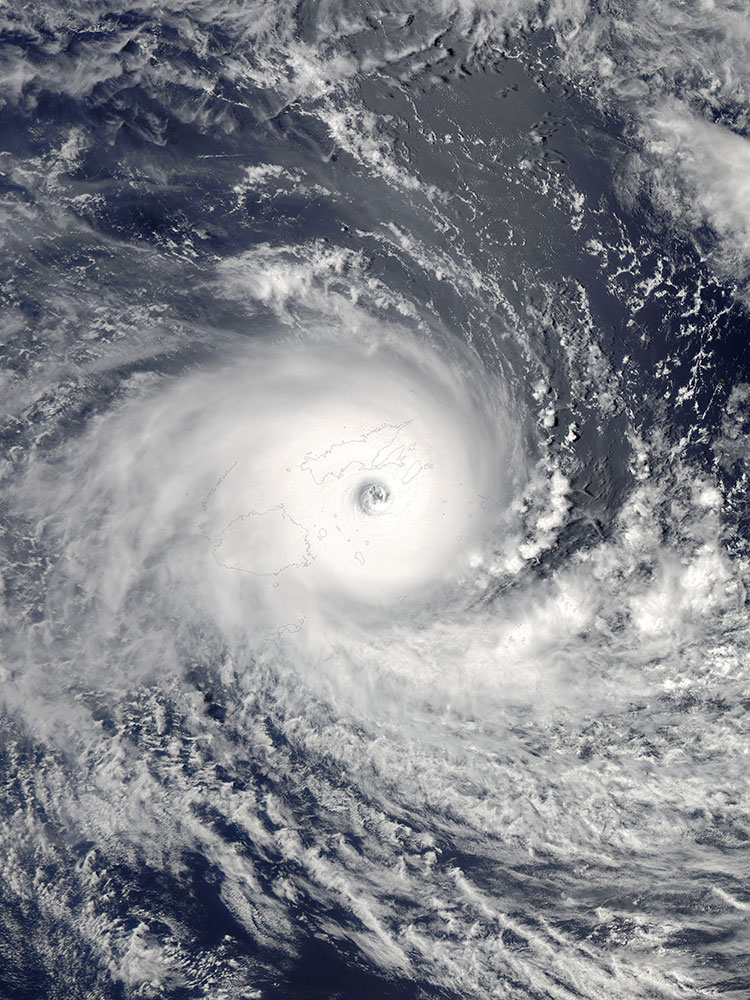 The Aqua satellite captured this picture of Severe Tropical Cyclone Winston at 01:30 UTC on 20 February 2016, during peak intensity and striking Fiji. Winston becomes the strongest storm to make landfall over Fiji in history. Image by NASA