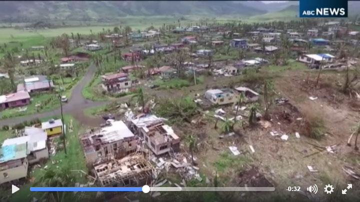 Watch ABC News Drone Footage of the devastation in Fiji following Tropical Cyclone Winston.
