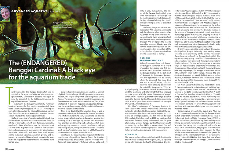 "CORAL Sr. Editor Ret Talbot discusses the aquarium trade's ""black eye"" in the ESA listing of the Banggai Cardinalfish, Pterapogon kauderni."