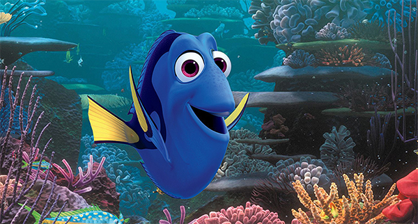 Dory, an animated Pixar/Disney Paracanthurus hepatus, is the star of a forthcoming film appearing in mid-June 2016. Image © Disney/Pixar.