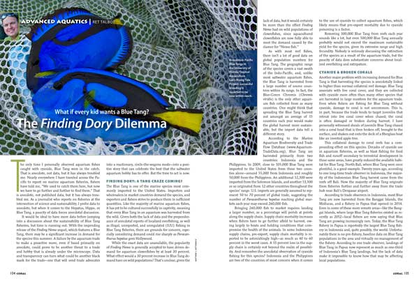 "With the release of the new movie Finding Dory just around the corner, Ret Talbot asks the question, ""What if every kid wants a Blue Tang?"" Tablot looks at the present status and future outlook for Paracanthurus hepatus in The Finding Dory Dilemma."