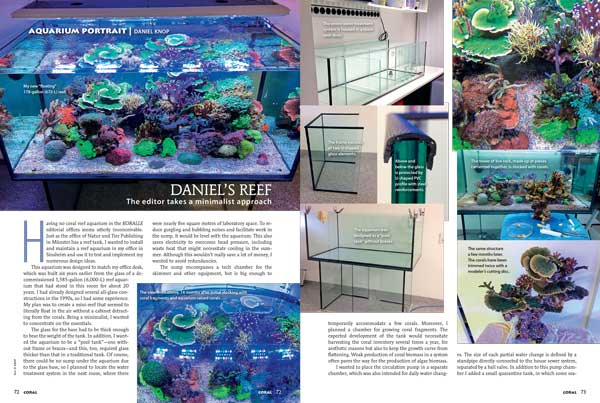 "We've featured it twice online; finally ""Daniel's Reef"", the Koralle editorial office aquarium is finally revealed in the pages of CORAL Magazine! You'll want to see Knop's highly successful minimalist approach in this Aquarium Portrait tell-all!"