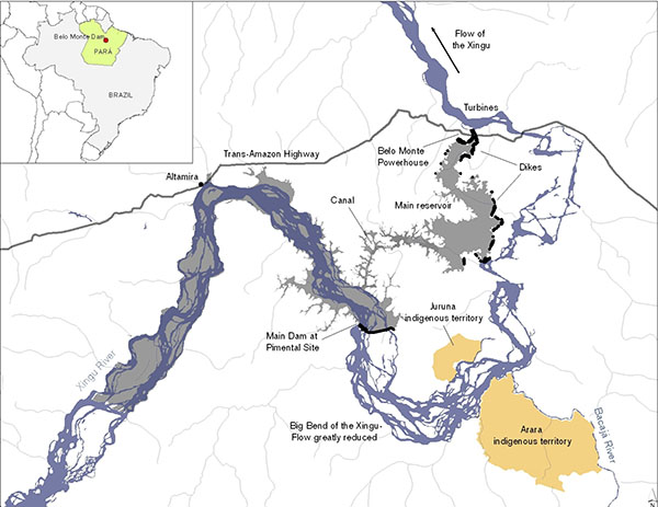 Map of Big Bend area showing the impact areas from construction of Belo Monte. Image: International Rivers.