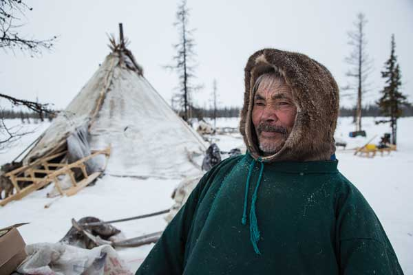 Nenets encampments are mobile and are moved frequently to follow their caribou herds. Nenets herders were the only distant witnesses to explosive methane events on the Yamal Peninsula of northern Siberia. Image: Dmitry Tkachuk.