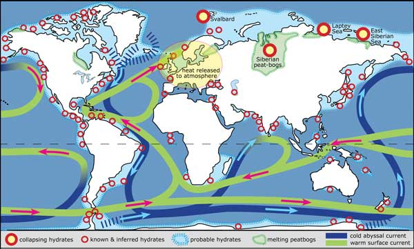 Methane hydrates have a worldwide distribution, but problems with them are limited to the Arctic. The conveyor currents for ocean heating move cold oxygen-rich water through the deep oceans, and transfer heat by the movement of warm surface currents. Map: http://www.zo.utexas.edu/