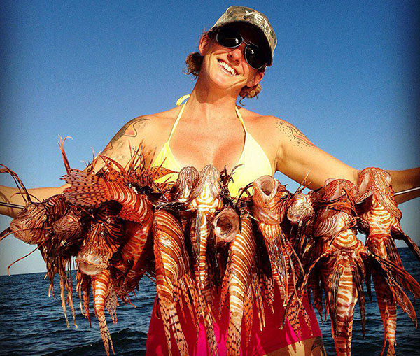 The self-proclaimed Lionfish Huntress Rachel Bowman has helped take impressive numbers of Pterois invaders out of Florida Keys waters.