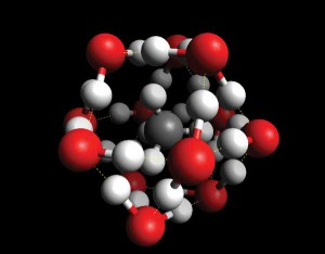 Methane clathrates are formed when ice molecules build lattice- like cages around methane molecules (inset)where red spheres represent oxygen atoms, white represents hydrogen, and gray represents carbon. US Office Naval Research.