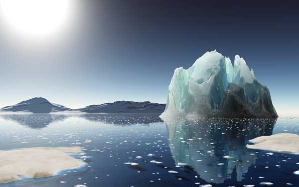 "Increases in temperatures are resulting in the summer disappearance of the Arctic ice caps. The Arctic Ocean is predicted to be ""ice free"" (or having less than 1 million square kilometers of sea ice) in 2016. © Mihai Maxim/shutterstock"