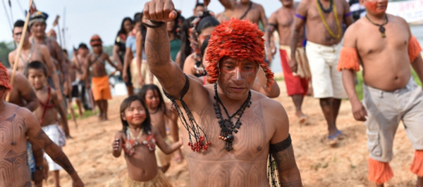 Tapajos_warriors protesting next mega dam in Brazilian Amazon. Image: International Rivers.