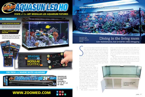 "Martin Kunzelnick's ""low maintenance"" 260-gallon reef aquarium defines current ""state-of-the-art"" Euro reef design and management."