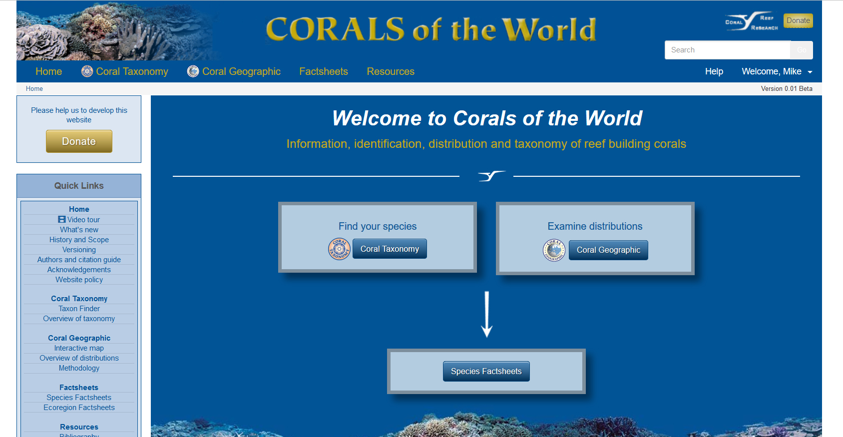 Home page of the newly-launched Corals of the World online database