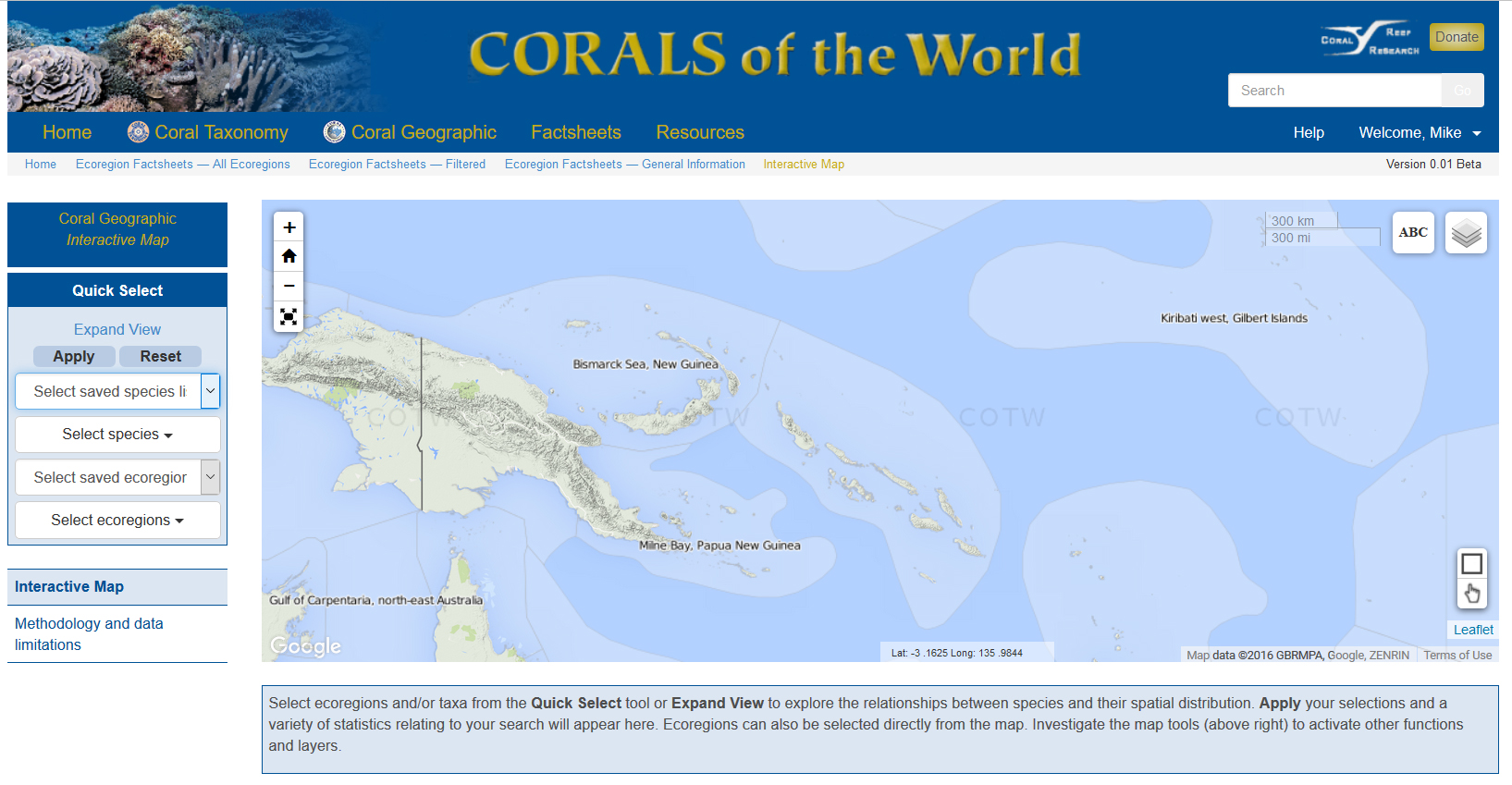 The site includes an interactive map of ecoregions which many aquarists will find useful