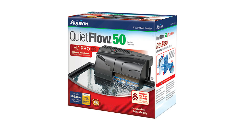 Aqueon's latest revision to the QuiteFlow hang on back aquarium filtration line incorporates an LED indicator light which lets you know when it's time to change your filtration cartridges.