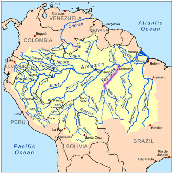 "The São Luiz do Tapajós dam's reservoir would have encompassed 72,225 hectares (278 square miles), part of it flooding Munduruku territory. Brazil still has plans to build 43 ""big"" dams in the Tapajós basin, to be completed by 2022. The Chacorão dam, if built, would flood 18,700 hectares (72 square miles) of Munduruku land. Map by Kmusser licensed under the Creative Commons Attribution-Share Alike 3.0 Unported license."