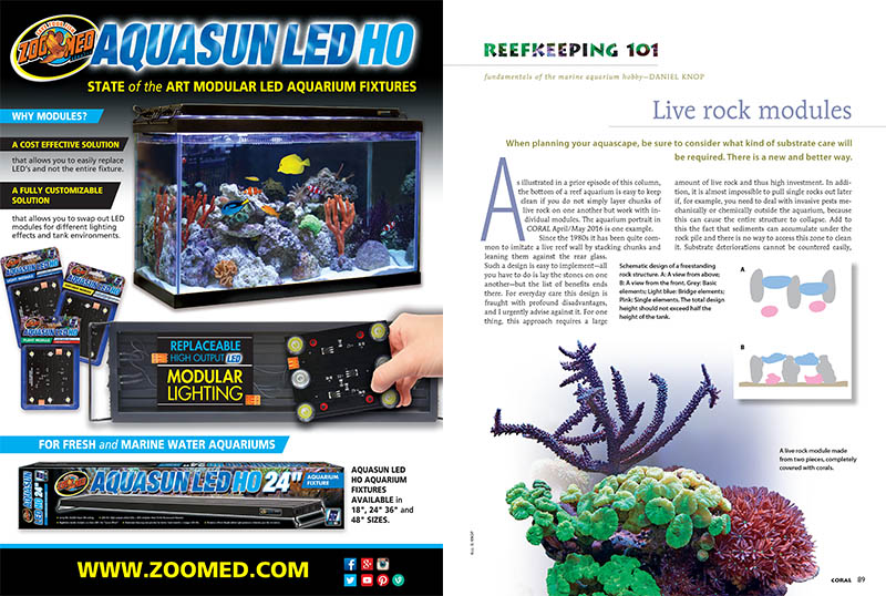 "Daniel Knop introduces a live rock modules concept of aquascaping for improving substrate condition and maintenance in ""Reefkeeping 101."""
