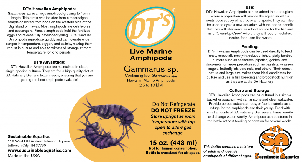 The label for DT's Hawaiian Amphipods, a new live-feeds introduction from Sustainable Aquatics.