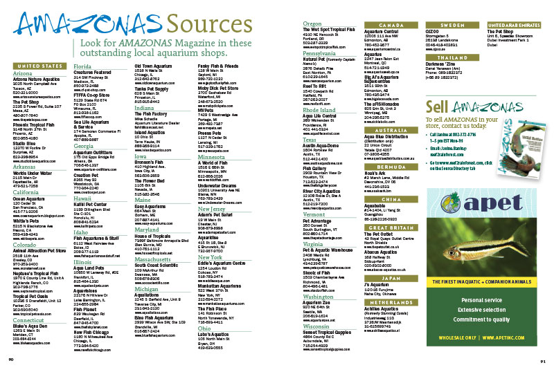 Looking for a single-issue copy? Try one of the many excellent local aquarium shops that carry AMAZONAS Magazine.