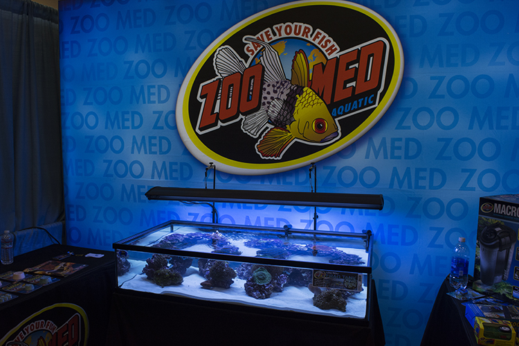 "The ZooMed Labs booth showcasing their new ""Low Boy"" frag tank"