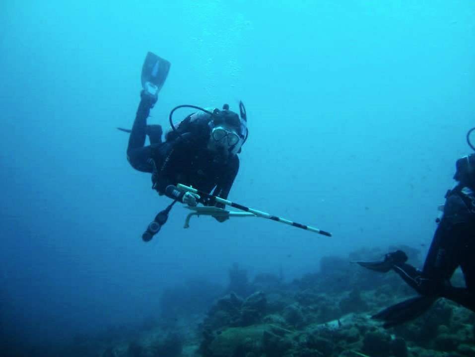 Graduate MASNA scholarship winner, Liz, in Bonaire (Dutch Caribbean), Fall 2013, conducting an AGRRA (Atlantic and Gulf Rapid Reef Assessment) fish survey with a T-bar during her study abroad semester at the CIEE Research Station Bonaire