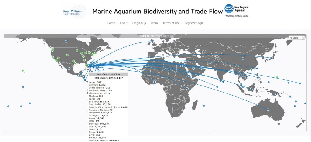 A screenshot from the homepage of AquariumTradeData.org, one of the 4 grand prize winners in the USAID Wildlife Crime Tech Challenge.