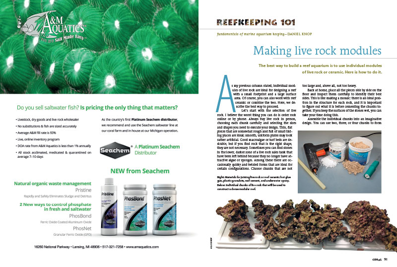 "Daniel Knop continues his series of substrate and aquascaping-related topics with 'Making live rock modules"" in the latest Reefkeeping 101."