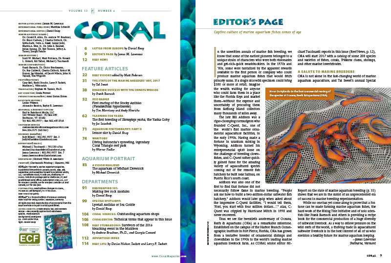 """As a way to relieve pressure on the wild reefs of the world, a thriving trade in aquacultured saltwater livestock is in the best interest of all of us who envision a healthy future for marine aquarium keeping."" - James Lawrence, on the Editor's page. Our table of contents is also shown here."