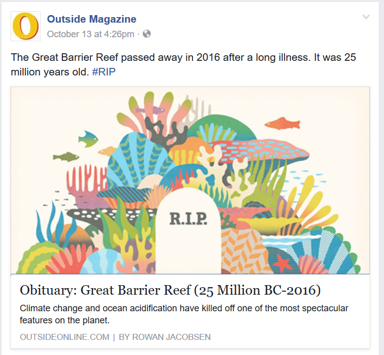 "Outside Magazine's ""obituary"" for the Great Barrier Reef quickly went viral"