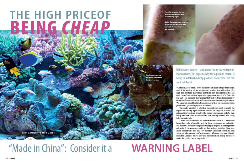 "The opening spread of ""The High Price Of Being Cheap"", as it appeared in the September/October 2016 Issue of CORAL Magazine. Featuring prominently, The Triton reference aquarium before the tungsten release."