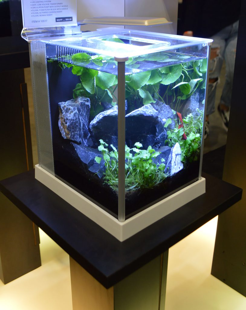The Fluval Spec III, a 2.6-gallon nano tank on display.