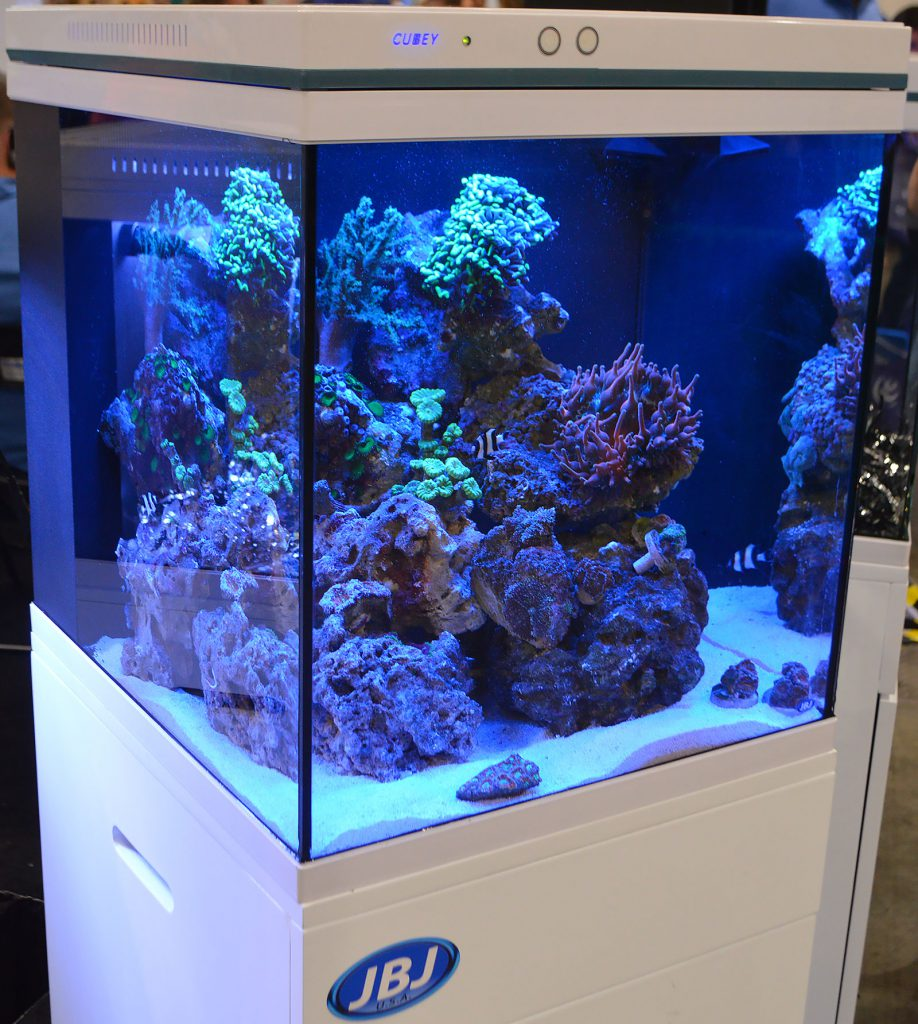 A sleek new offering in the nano-aquarium realm, JBJ displayed multiple new, larger sizes of the CUBEY, coming soon.