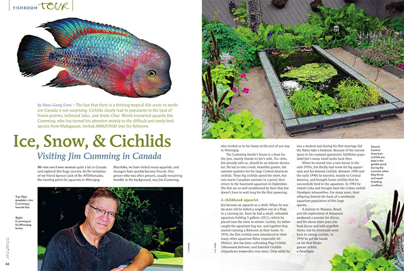"Hans-Georg Evers travels to Winnipeg, Manitoba, Canada, into the fishroom of rare cichlid breeder Jim Cumming. Read more in ""Ice, Snow, & Cichlids""."