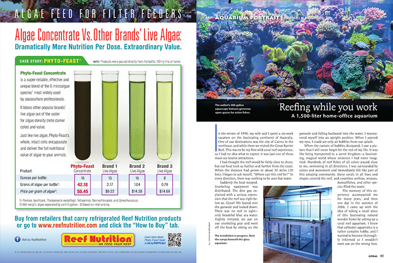 Reefing while you work: the 400 gallon (1,500-liter) home-office reef aquarium of Friedhelm Möginger is this issue's Aquarium Portrait.
