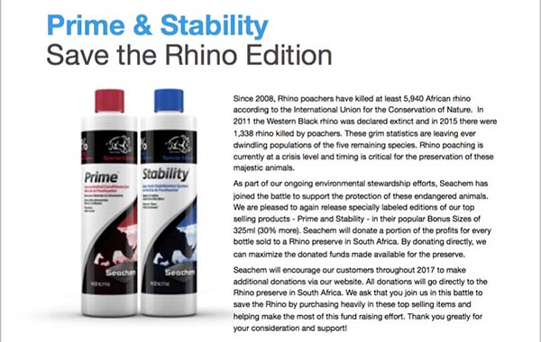 Specially marked bottles of Seachem's Prime and Stability will help support Rhino conservation efforts