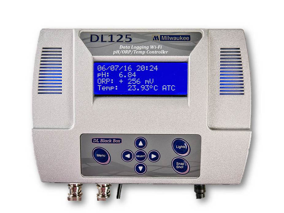 The DL125 monitors and controls pH, Temperature and ORP while data logging each of these important parameters